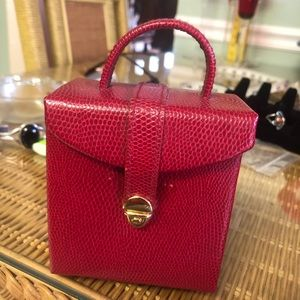Faux Leather Snake Skin Red Jewelry Travel Bag